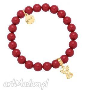 sotho czerwona bransoletka z pereł swarovski® crystal ze - aniołek