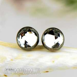 drobinki z bursztynami - kolczyki srebrne d086, małe kolczyki, subtelne