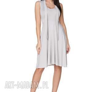 Sukienka rozkloszowana wiązana na szyi jasnoszara T237, sukienka,