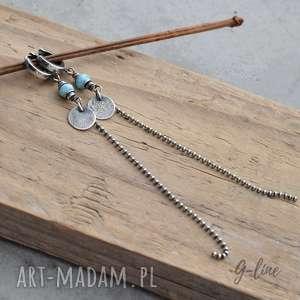 Larimar długie srebrne kolczyki II, larimar, długie-kolczyki, srebro