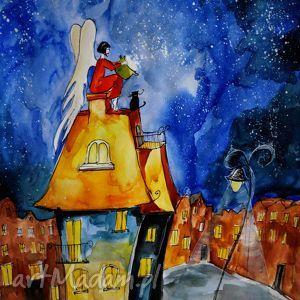 Akwarela z dodatkiem piórka ANIOŁ GOTUJE artystki plastyka Adriany Laube, anioł
