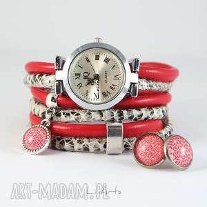 komplet - zegarek i kolczyki czerwony, biało czarny owijany, rzemienie