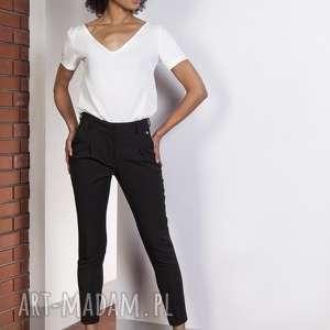 Spodnie z wysokim stanem, SD115 czarny, spodnie, eleganckie, rurki, klasyczne