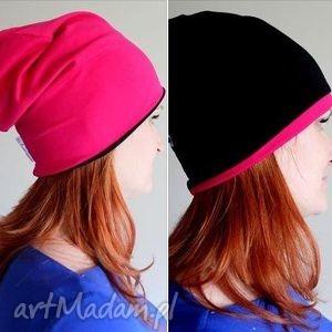czapka dwustronna dwukolorowa dresowa beanie, czpka, różowa, dwukolorowa, dwustronna