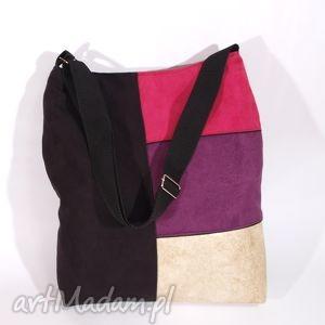 torebki energetyczne iris czarna geometria, pakowna, miejska, kolorowa, autorska