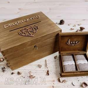 Zestaw ślubny pudełko na obrączki skrzynka wspomnień, koperty, drewniane