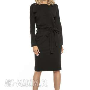 luźna sukienka z paskiem i kieszeniami, t250, czarny, sukienka, luźny, fason, pasek