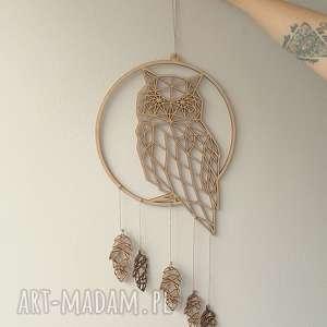 łapacz snów z geometryczną sową, boho, leśny, asymetryczny, geometryczny