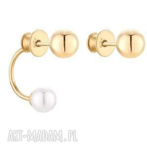 złote asymetryczne kolczyki z kulkami i perłami swarovski®