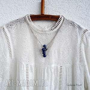 ręcznie robione naszyjniki lapis lazuli - lniany naszyjnik