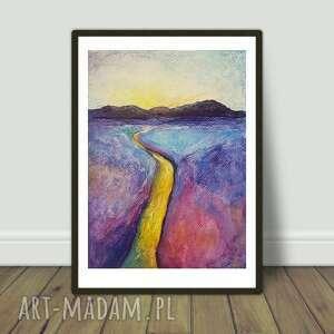 Żółta rzeka -praca formatu 18 24 cm paulina lebida pejzaż