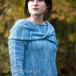 Niebieski, melanżowy, kimonowy sweter z kominem - ArtHermina, komin, sweter, melanż