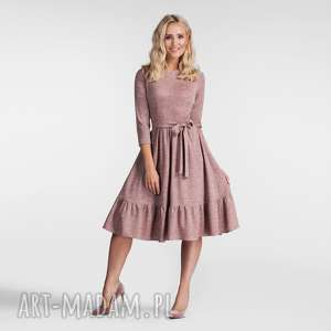 sukienka olga 3/4 midi melanż brudny róż, sukienka, midi, rozkloszowana, falbana
