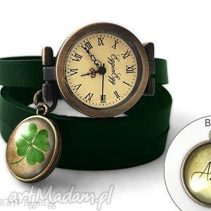 zegarek z dwustronną zawieszką - koniczyna 0708swgr - czarne