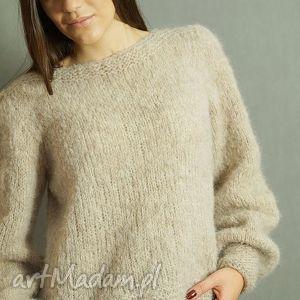 z bufiastymi rękawami, alpaka, sweter, dziergany, mankiet, pod choinkę prezent