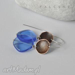 Aqua (Marina), kolczyki, srebro, miedź, szkło, surowe, misy