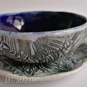 """Komplet """"kwiatowo - kobaltowo"""" ceramika evaart rękodzieło"""