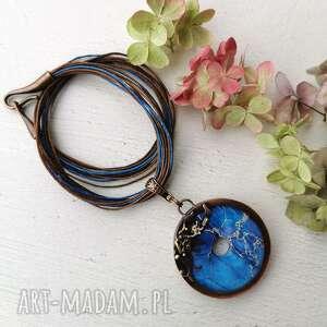 naszyjnik miedziany w niebieskim kolorze c743, niebieski wisior, niebieska