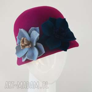 dodatki kapelusz garden, kapelusz, filc, kwiaty, fuksja, granat