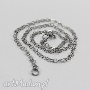 srebrny oksydowany łańcuszek 42 cm - łańcuszek, srebro, rolo, oksydowany