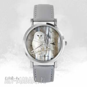 Prezent Zegarek - Sowa szary, skórzany, zegarek, bransoletka, sowa