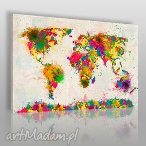 obrazy obraz na płótnie - mapa kolory 120x80 cm 06301, mapa, kolorowy, plamy