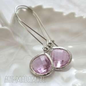 pink unique glass, długie, wiszące, szkło, kryształ, romantyczne biżuteria