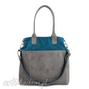 fiella - duża torba turkus i szarość, shopper, modna, miejska, prezent, wyjątkowa