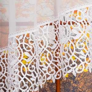 hand made dekoracje woalowa firana z gipiurą - łukowana
