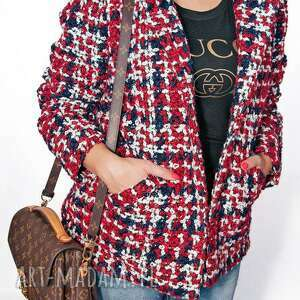 bien fashion kolorowa elegancka krÓtka kurtka damska xxl - glamour, elegancka