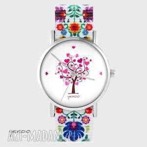zegarek - drzewko miłości folk biały, nato, zegarek, bransoletka, folkowy