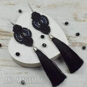 eleganckie długie kolczyki chwosty, czarne, frędzle