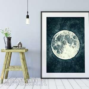 moon a3, plakat, księżyc, noc, niebo, wnętrze, moon, unikalny