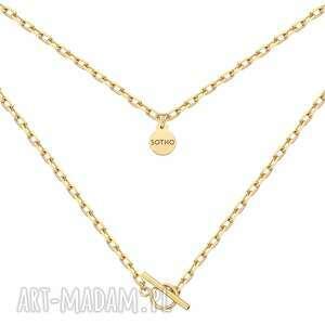 złoty masywny łańcuszek z ozdobnym zapięciem - łańcuch