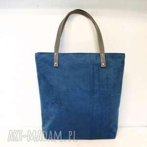 shopper bag - torba, granatowa, niebieska, szyta, modna