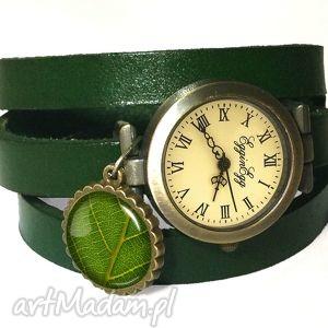 egginegg liść - zegarek bransoletka na skórzanym pasku