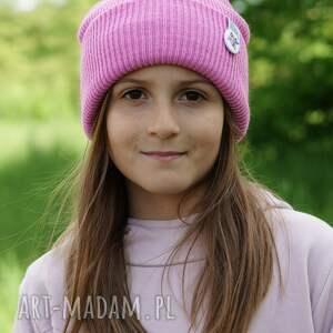 czapki różowa czapka dziecięca logo kolor, kids beanie, w góry