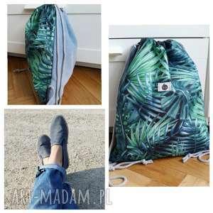 hand made worek plecak wodoodporny liście palmowe tropikalny jeans