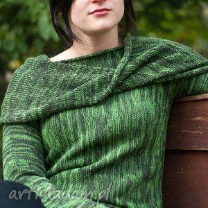 Zielony melanżowy sweter z kominem - ArtHermina, sweter, melanż, zieleń, wełna