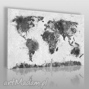 dom obraz na płótnie - mapa czarno-biały 120x80 cm 06304, mapa, monochromatyczny