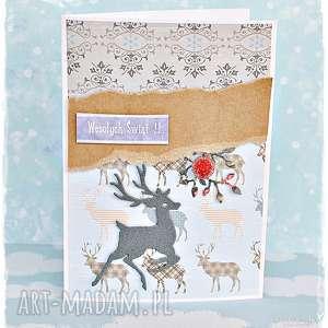 renifery - kartka świąteczna - kartka, boże-narodzenie, renifer