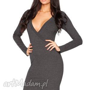 sukienki sukienka olga 2, kopertowa, dzianina, swobodna, wygodna, dekolt, elegancka