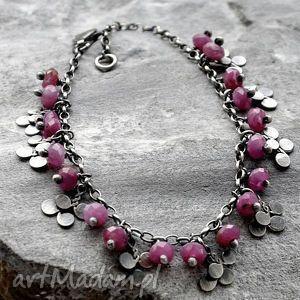 bransoletki rubiny- delikatna bransoletka, srebro, rubiny, drobna