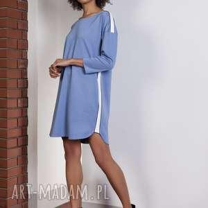 sportowa sukienka z lampasami, niebieski, lampasy, sukienka, oversize, luźna