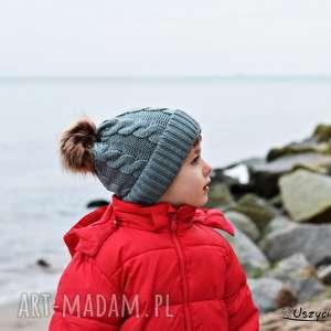 czapki czapka zimowa z pomponem, na zimę, ciepła szara