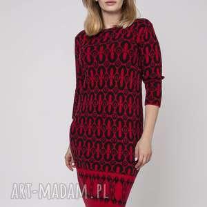 ręcznie wykonane swetry dzianinowa sukienka, suk005 czerwony/czarny mkm