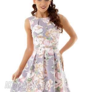sukienka kontrafałda szara w kwiaty, elegancka sukienka, koktajlowa modna