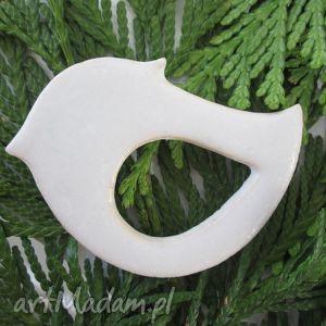 ptaszunio w bieli - ceramiczna, biała, broszka