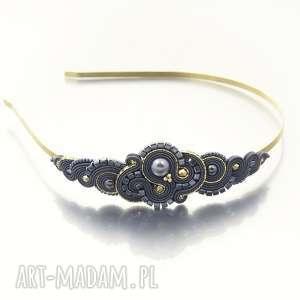 opaski opaska do włosów rosaline dark grey soutache, orientalna, sutasz, soutache