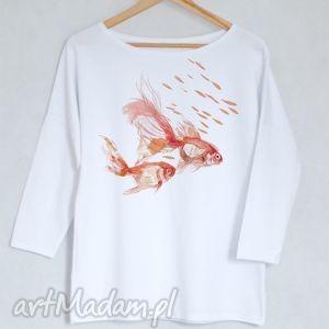 ryby bluzka bawełniana oversize s/m biała, koszulka, bluzka, nadruk, bawełna